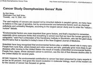 "The Washington Post's headline read, ""Study Deemphasized Genes' Role"""